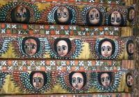 The painted ceiling of Debre Birhan Selassie Church in Gondar